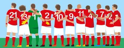 Rött enhetligt fotbolllag vektor illustrationer