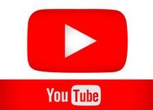 Rött enkelt för Youtube symbol som isoleras på vit backgraound Arkivfoton