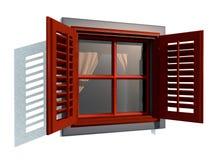 Rött fönster Arkivfoto