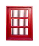 Rött fönster i thai tempel Arkivbilder