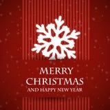 Rött förbjudit julkort med snowflaken Royaltyfri Fotografi