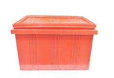 Rött förpacka för plast- ask av produkten för färdigt gods Arkivfoto