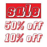 Rött försäljningstecken med 50% av och 10% av Royaltyfri Foto