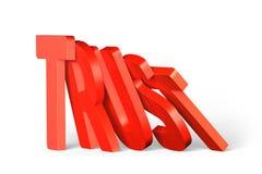 Rött förtroendeord av att falla för domino Arkivfoton