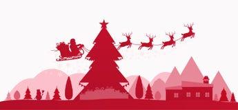Rött ferielandskap för vinter med julträd vektor illustrationer
