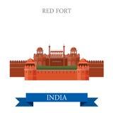 Rött fort i gränsmärken för dragning för New Dehli, Indien vektorlägenhet royaltyfri illustrationer