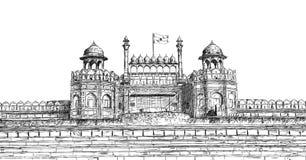 Rött fort, New Delhi, Indien - den detaljerade vektorn skissar illustrationen royaltyfri illustrationer
