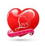 Rött glansigt symbol för hjärtaförälskelse royaltyfri illustrationer