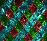 Rött grönt, glass textur för turkos med en modell av romber Klar glass diamantform kristaller Arkivbilder