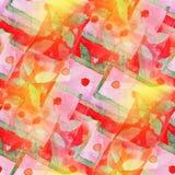 Rött grönt sömlöst kubismabstrakt begrepp för konstnär Royaltyfria Bilder