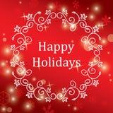 Rött hälsningkort för jul med snöflingor - vektorn semestrar Arkivfoton