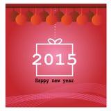 Rött hälsningkort för lyckligt nytt år Fotografering för Bildbyråer