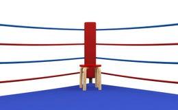 Rött hörn för boxningsring med stol Fotografering för Bildbyråer