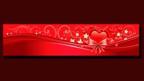 Rött hjärtabaner för valentin Royaltyfria Bilder