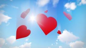 Rött hjärtahälsningkort Romantiskt symbol av förälskelse inbunden vektor för valentin för daghjärtaillustration s två Royaltyfri Fotografi