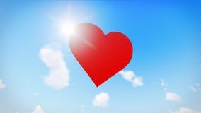 Rött hjärtahälsningkort Romantiskt symbol av förälskelse inbunden vektor för valentin för daghjärtaillustration s två Arkivfoto