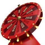 rött hjul för illustration 3d av lycka eller förmögenhet Realistiskt snurrförmögenhethjul Hjulförmögenhet som isoleras på vit Royaltyfria Bilder