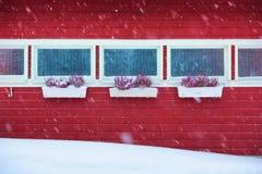 Rött hus i den felika skogen Finland för snö Royaltyfri Bild