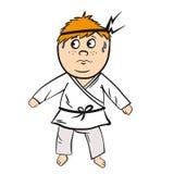 Rött huvud för karatetecknad filmunge med det svarta bältet Arkivbild
