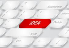 Rött idétangentbord på vit bakgrund Arkivbild
