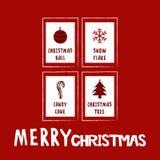 Rött illustrationkort för jul Fotografering för Bildbyråer