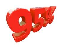 Rött isolerat procenttecken Arkivbild