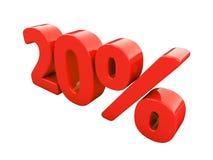 Rött isolerat procenttecken Fotografering för Bildbyråer