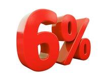 Rött isolerat procenttecken Arkivfoton