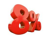 Rött isolerat procenttecken Arkivfoto