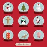Rött jordklot för julsymbolsuppsättning Royaltyfri Bild