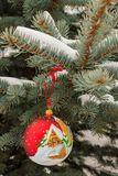 Rött jordklot i löst silvergranträd Arkivfoton