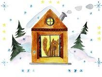 Rött julhus bland de snöig träden f?r flygillustration f?r n?bb dekorativ bild dess paper stycksvalavattenf?rg royaltyfri illustrationer