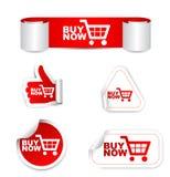 Rött köp för uppsättningpappersklistermärke nu med symbolen Fotografering för Bildbyråer