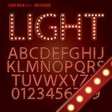 Rött klassiskt alfabet för ljus kula och siffravektor Arkivfoton
