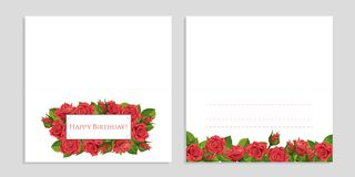 Rött kort för hälsning för rosvektorillustration med ramen Arkivbild