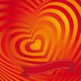 Rött kort för hjärtavalentindag Tredimensionell volymetrisk bild Arkivfoto