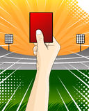 rött kort för vektor för ojust spel för fotbollspelare Fotografering för Bildbyråer