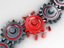 Rött kugghjul stock illustrationer