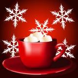 Rött kupa Kaffe med marshmallows royaltyfri illustrationer