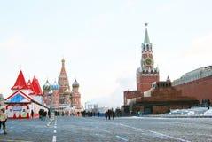 Rött kvadrera i Moscow i vinter Royaltyfria Foton