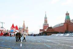 Rött kvadrera i Moscow i vinter Arkivbilder