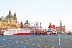 Rött kvadrera i Moscow i vinter Royaltyfria Bilder