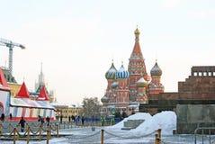 Rött kvadrera i Moscow i vinter Royaltyfri Fotografi