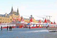 Rött kvadrera i Moscow i vinter Fotografering för Bildbyråer