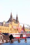 Rött kvadrera i Moscow i vinter Royaltyfri Bild