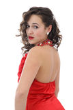 rött kvinnabarn för attraktiv klänning royaltyfria bilder