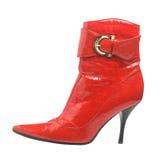 Rött kvinnligt skor, isolerat Arkivbilder