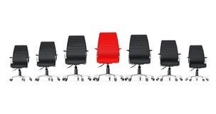 Rött läderframstickande Office Chair Between andra svartstolar 3d ren vektor illustrationer