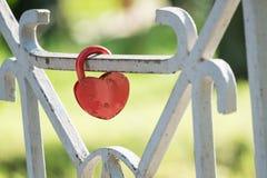 Rött lås på staketet av bron royaltyfri foto