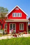 rött litet för hus Arkivbilder